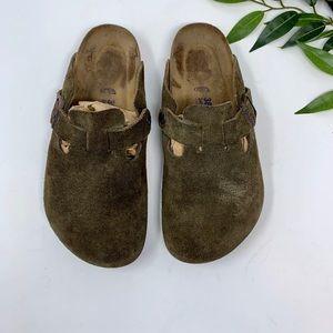 Birkenstock Shoes - Birkenstock Brown Suede Boston Slip On Mule 38